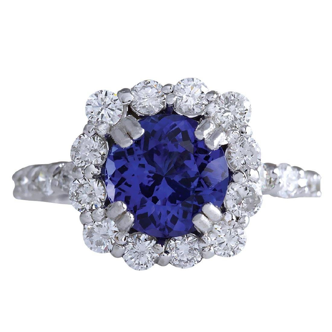 4.12CTW Natural Blue Tanzanite And Diamond Ring In 18K