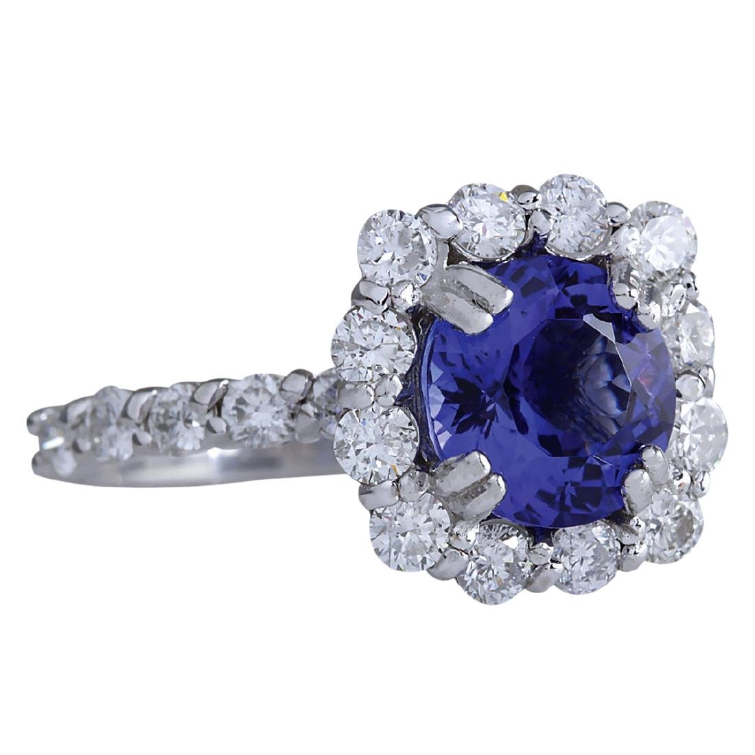 4.12CTW Natural Blue Tanzanite And Diamond Ring In 18K - 2