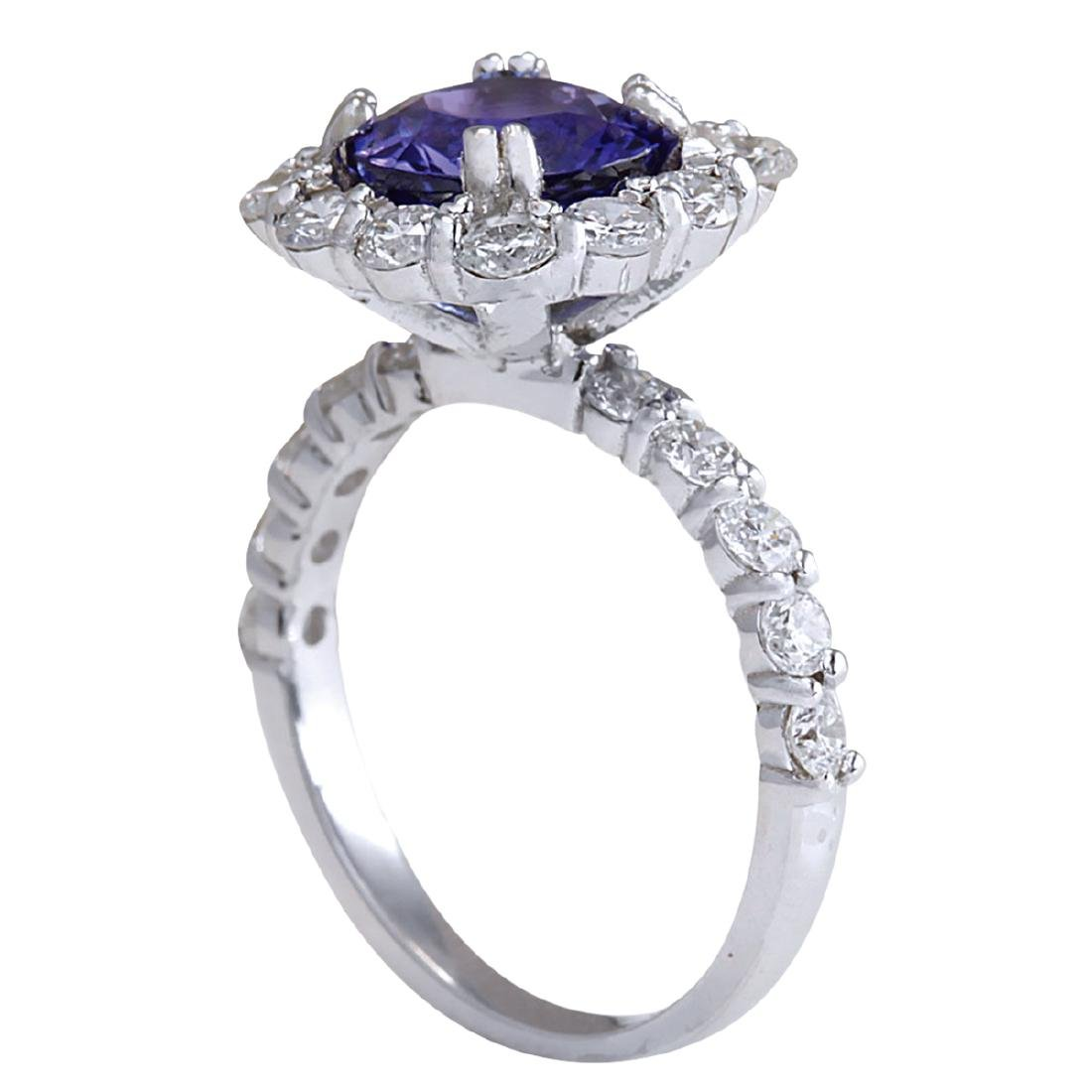 4.12CTW Natural Blue Tanzanite And Diamond Ring In 18K - 3