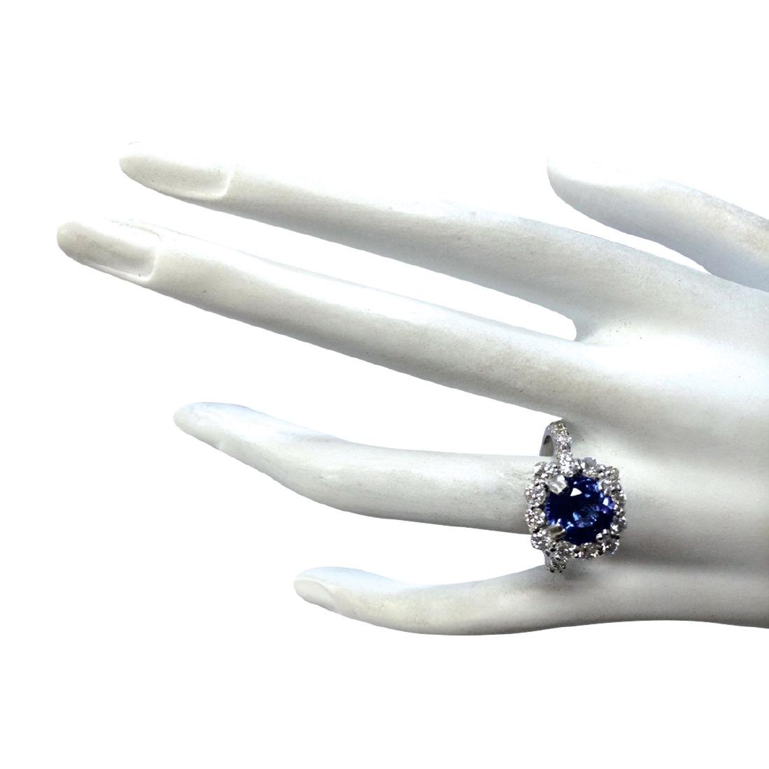 4.12CTW Natural Blue Tanzanite And Diamond Ring In 18K - 4