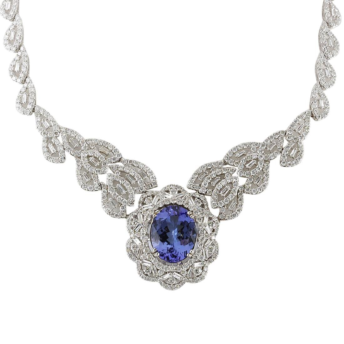 31.51 CTW Natural Tanzanite And Diamond Necklace 18K