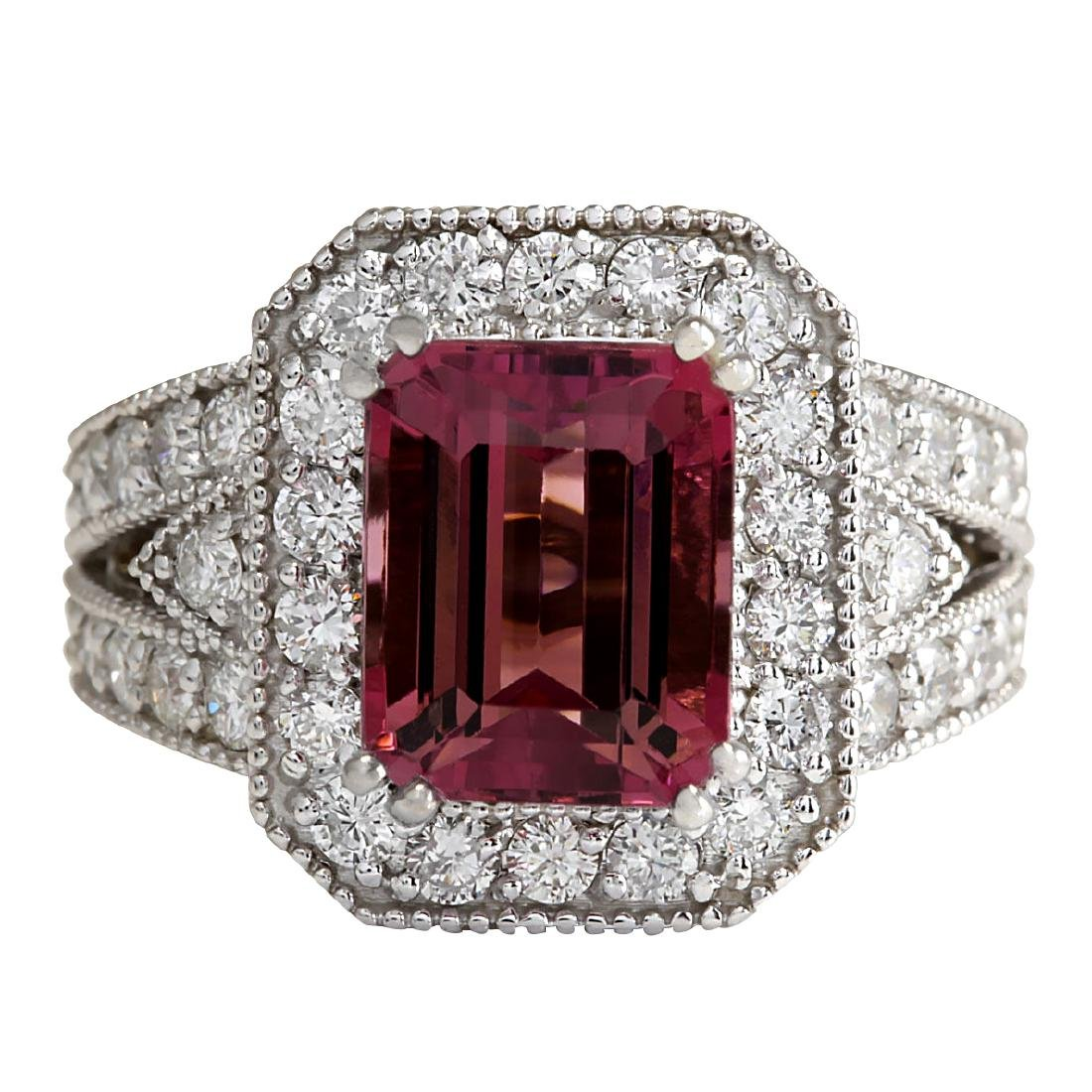 5.78CTW Natural Pink Tourmaline And Diamond Ring 18K