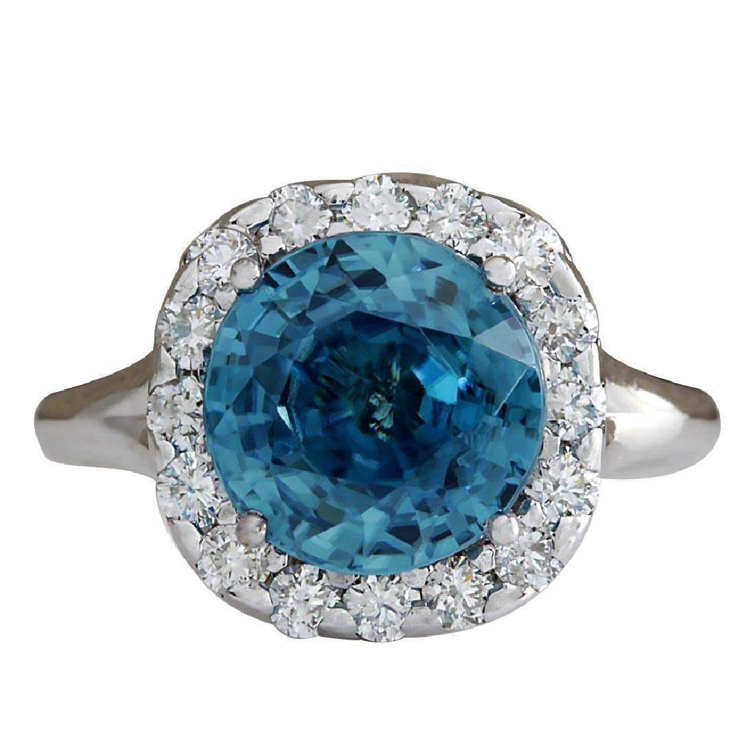 7.58CTW Natural Blue Zircon And Diamond Ring 18K Solid