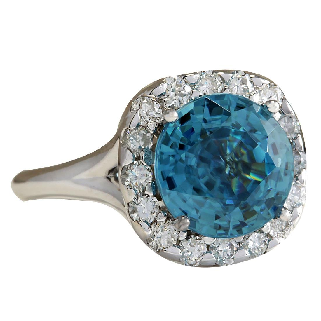 7.58CTW Natural Blue Zircon And Diamond Ring 18K Solid - 2