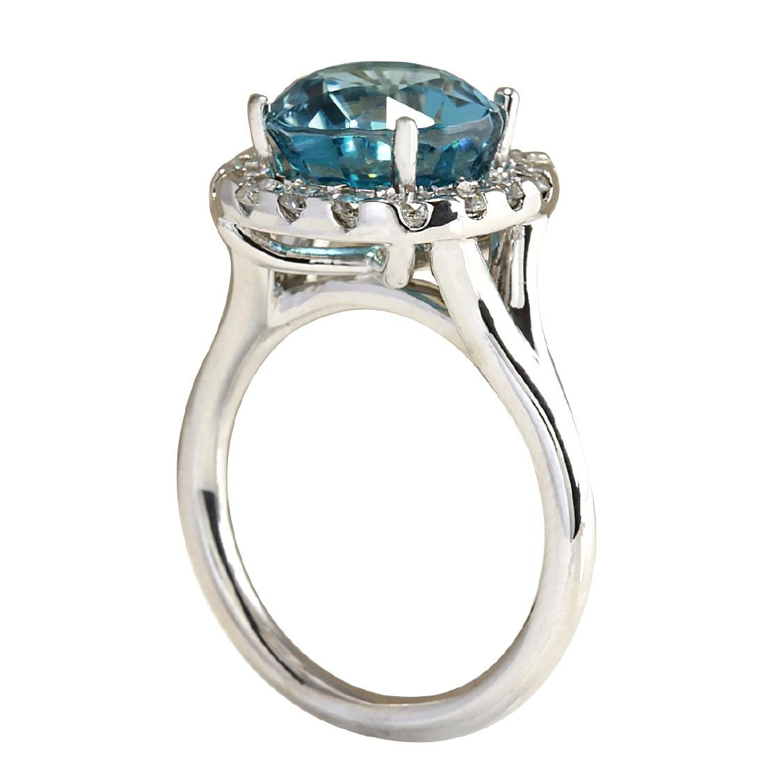 7.58CTW Natural Blue Zircon And Diamond Ring 18K Solid - 3