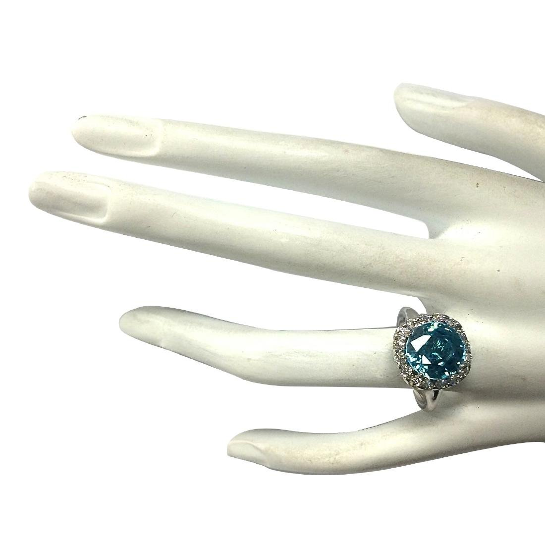 7.58CTW Natural Blue Zircon And Diamond Ring 18K Solid - 4
