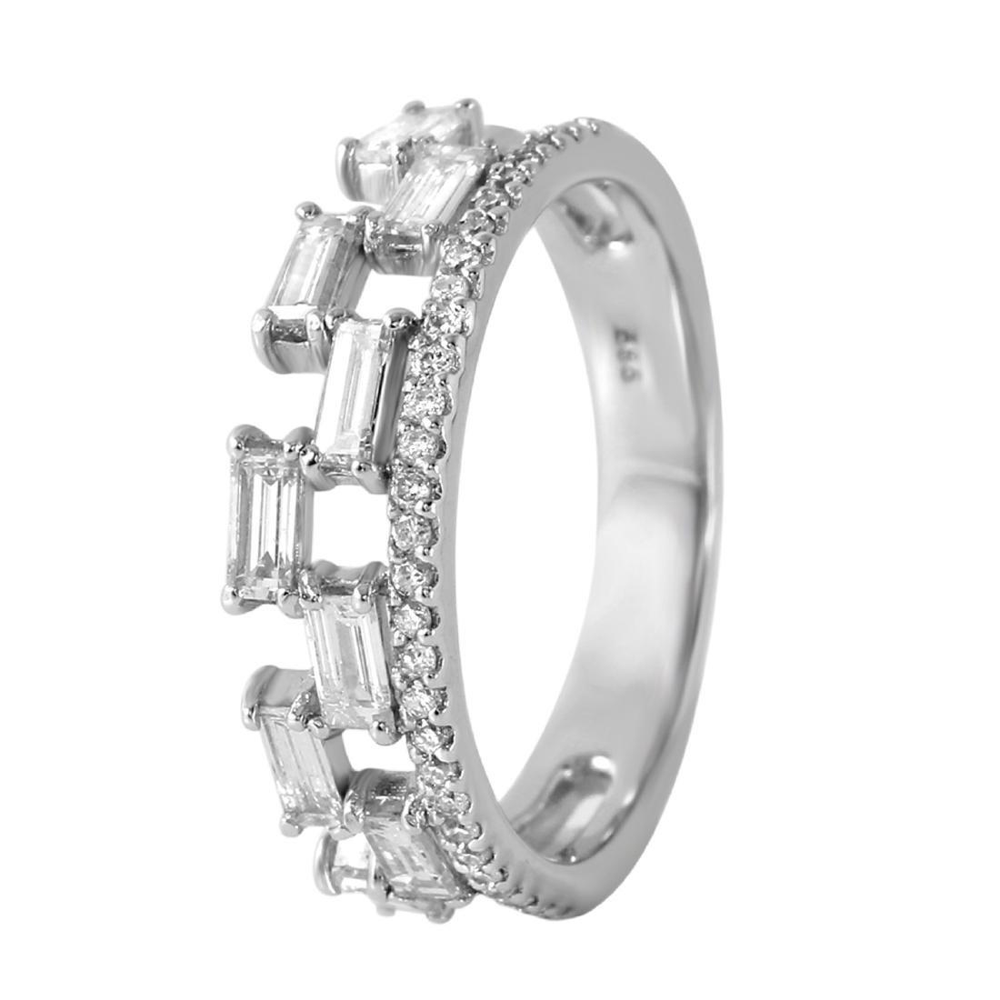 0.80 Carat Natural Diamond 18K Solid White Gold Ring