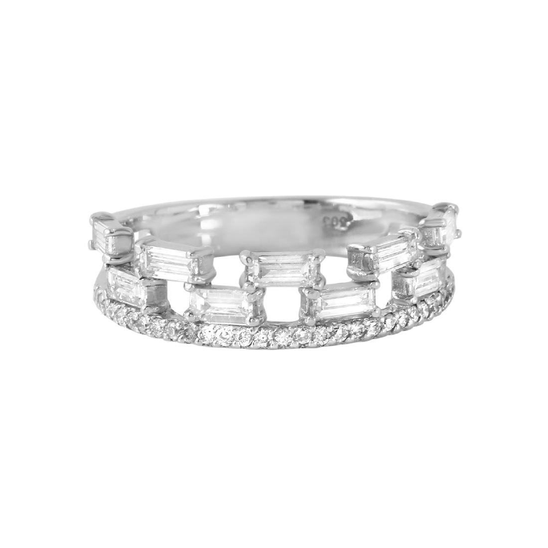 0.80 Carat Natural Diamond 18K Solid White Gold Ring - 2
