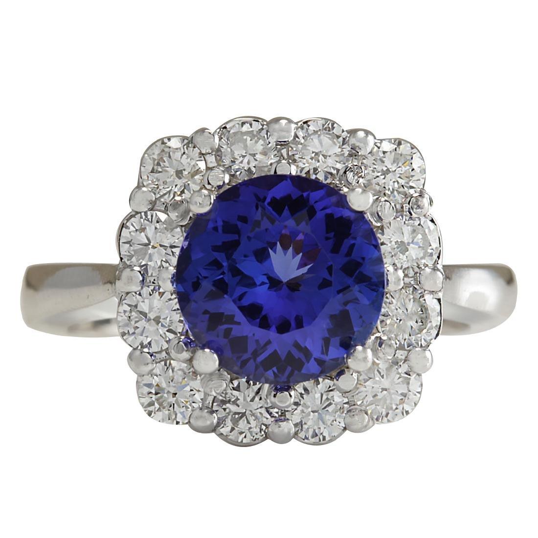 3.60CTW Natural Blue Tanzanite And Diamond Ring 18K