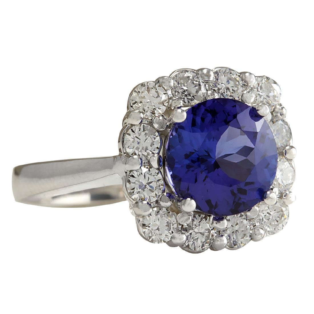 3.60CTW Natural Blue Tanzanite And Diamond Ring 18K - 2
