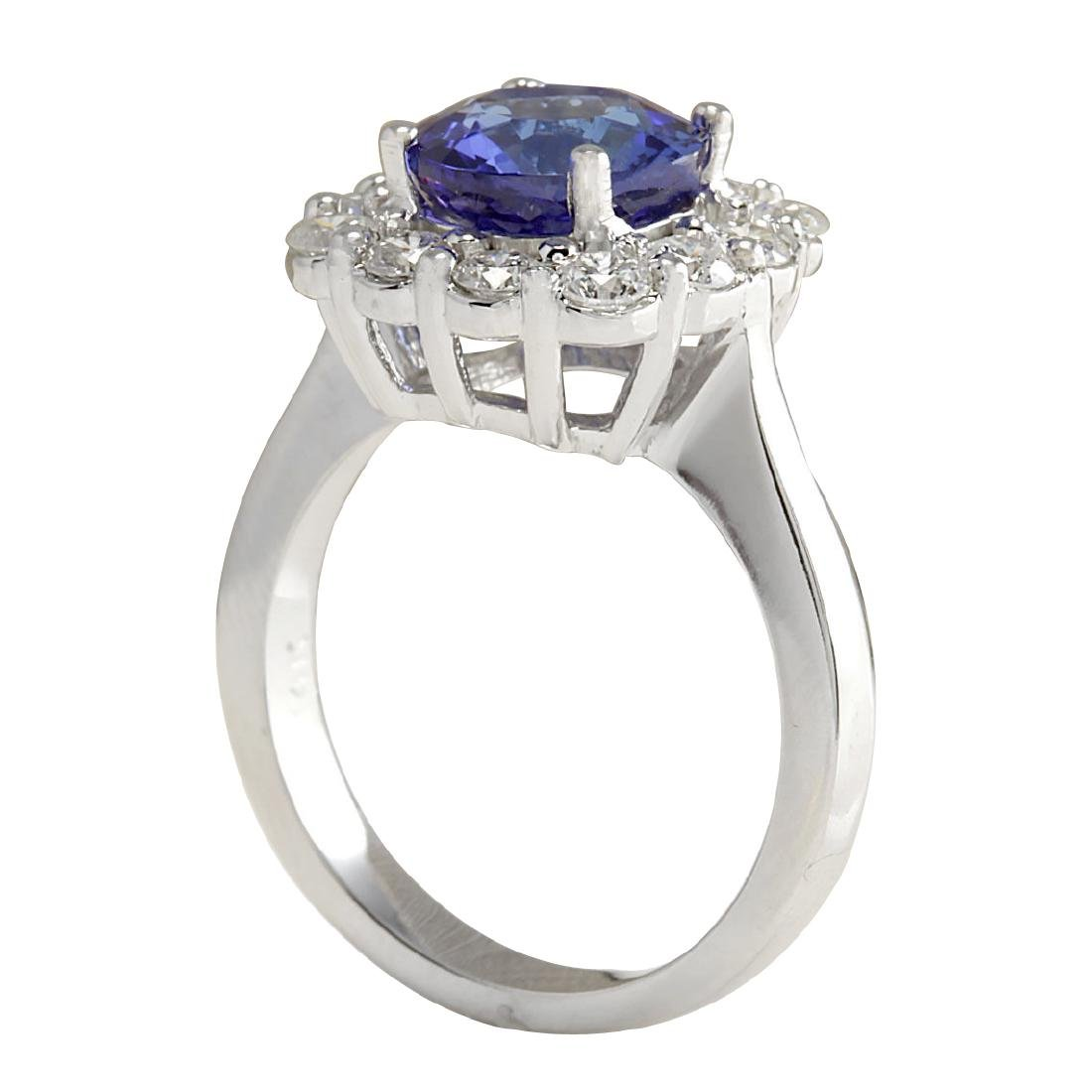 3.60CTW Natural Blue Tanzanite And Diamond Ring 18K - 3