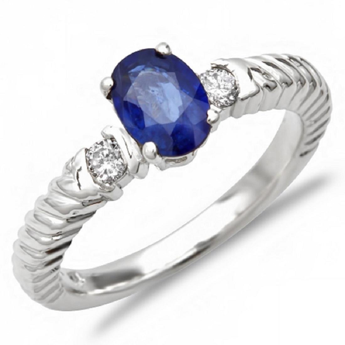0.80 Carat Natural Sapphire 18K Solid White Gold