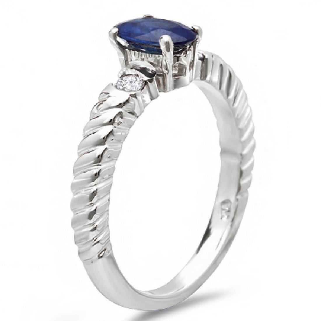 0.80 Carat Natural Sapphire 18K Solid White Gold - 2