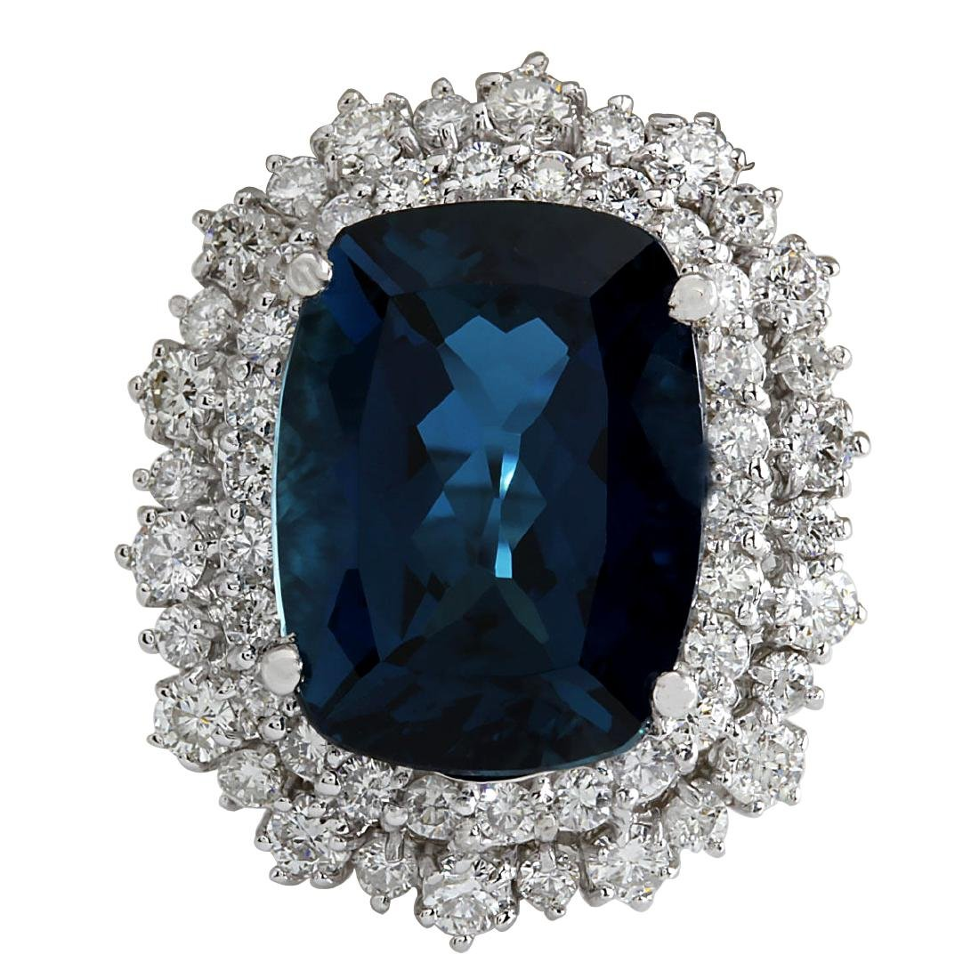 14.32Ct Natural London Blue Topaz And Diamond Ring