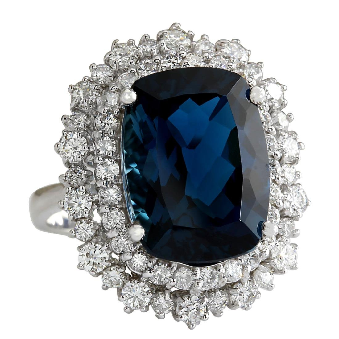 14.32Ct Natural London Blue Topaz And Diamond Ring - 2