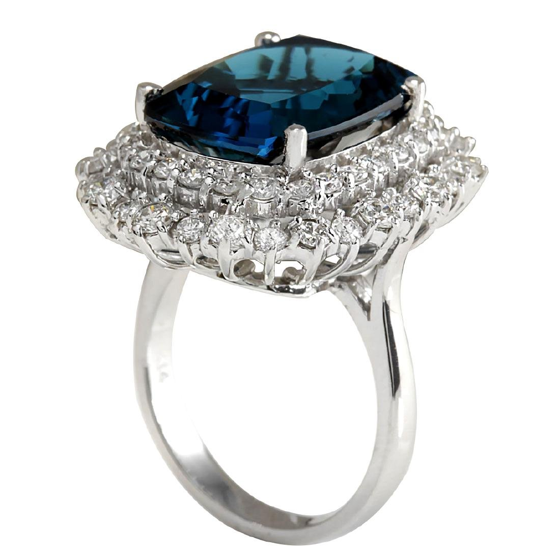 14.32Ct Natural London Blue Topaz And Diamond Ring - 3