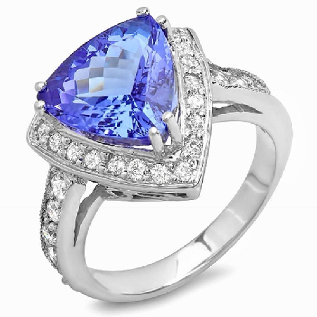 5.84 Carat Natural Tanzanite 18K Solid White Gold