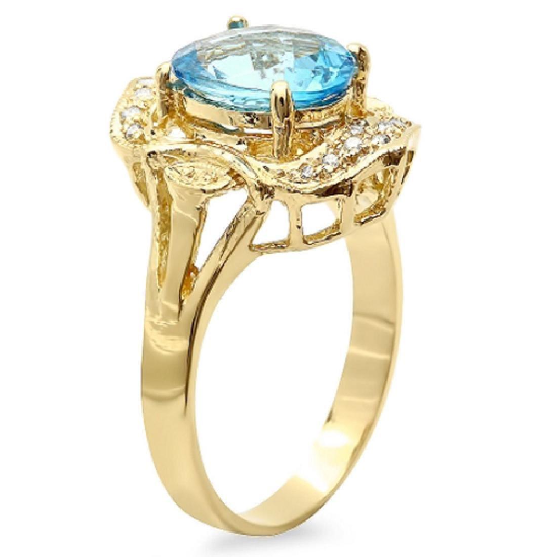 3.10 Carat Natural Topaz 18K Solid Yellow Gold Diamond - 2