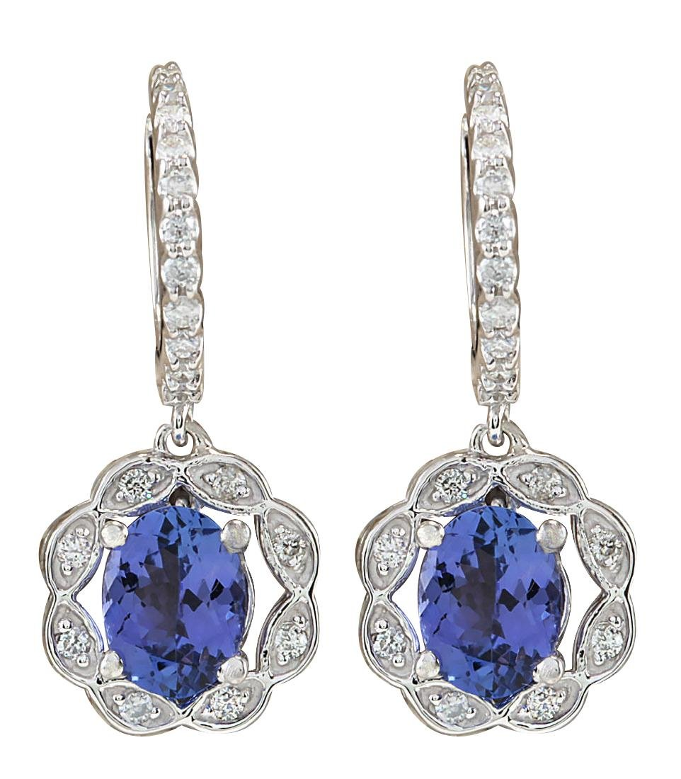 2.21CTW Natural Blue Tanzanite And Diamond Earrings In