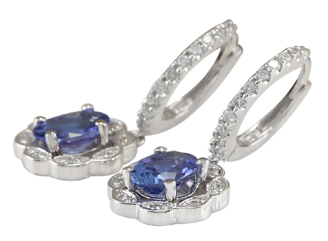 2.21CTW Natural Blue Tanzanite And Diamond Earrings In - 2