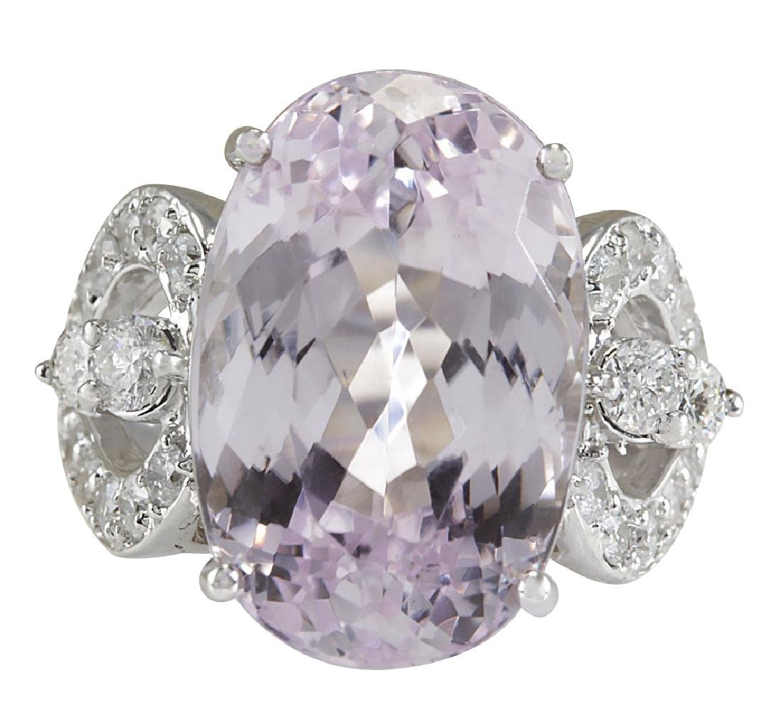 17.78CTW Natural Pink Kunzite And Diamond Ring In 18K