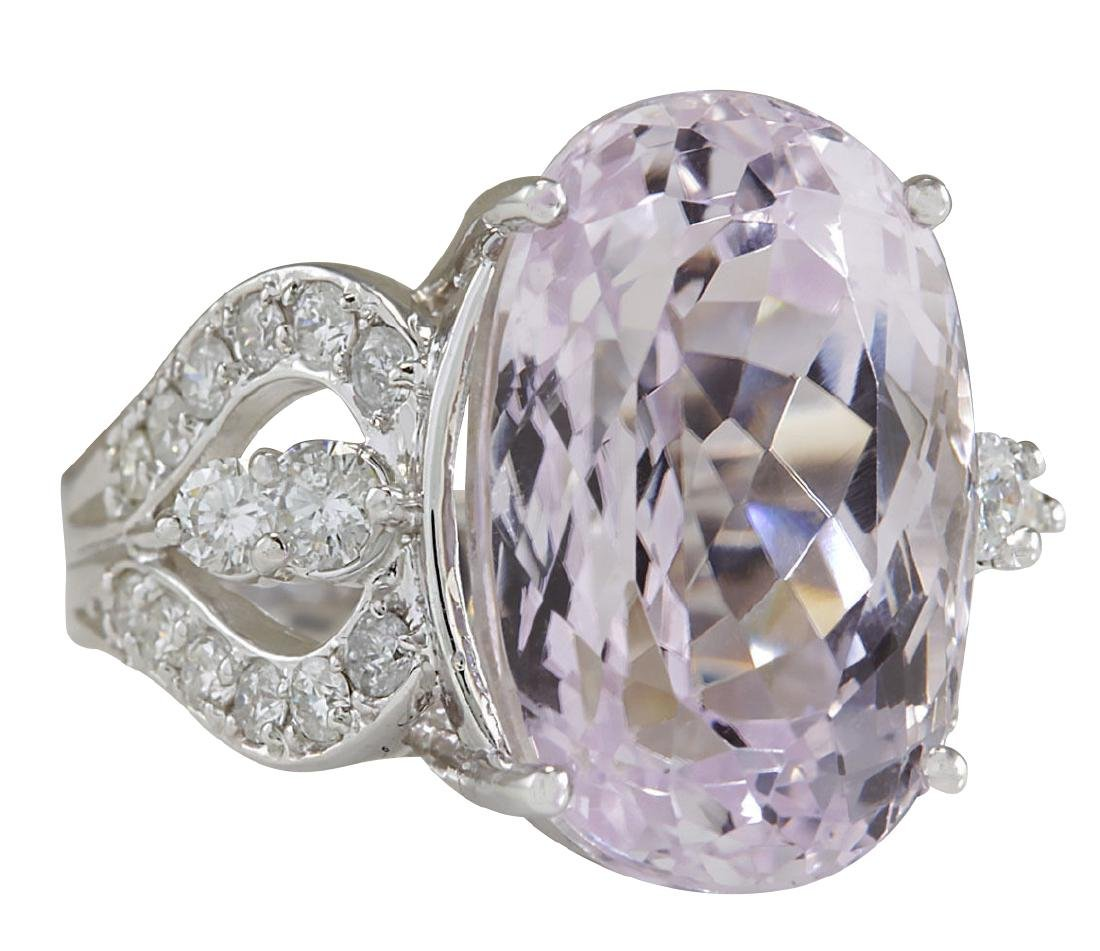 17.78CTW Natural Pink Kunzite And Diamond Ring In 18K - 2