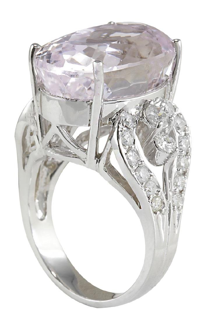 17.78CTW Natural Pink Kunzite And Diamond Ring In 18K - 3