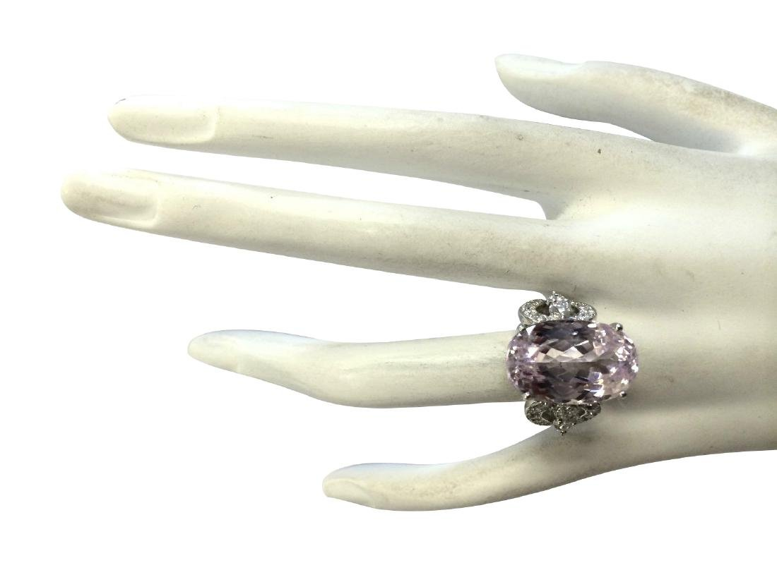 17.78CTW Natural Pink Kunzite And Diamond Ring In 18K - 4