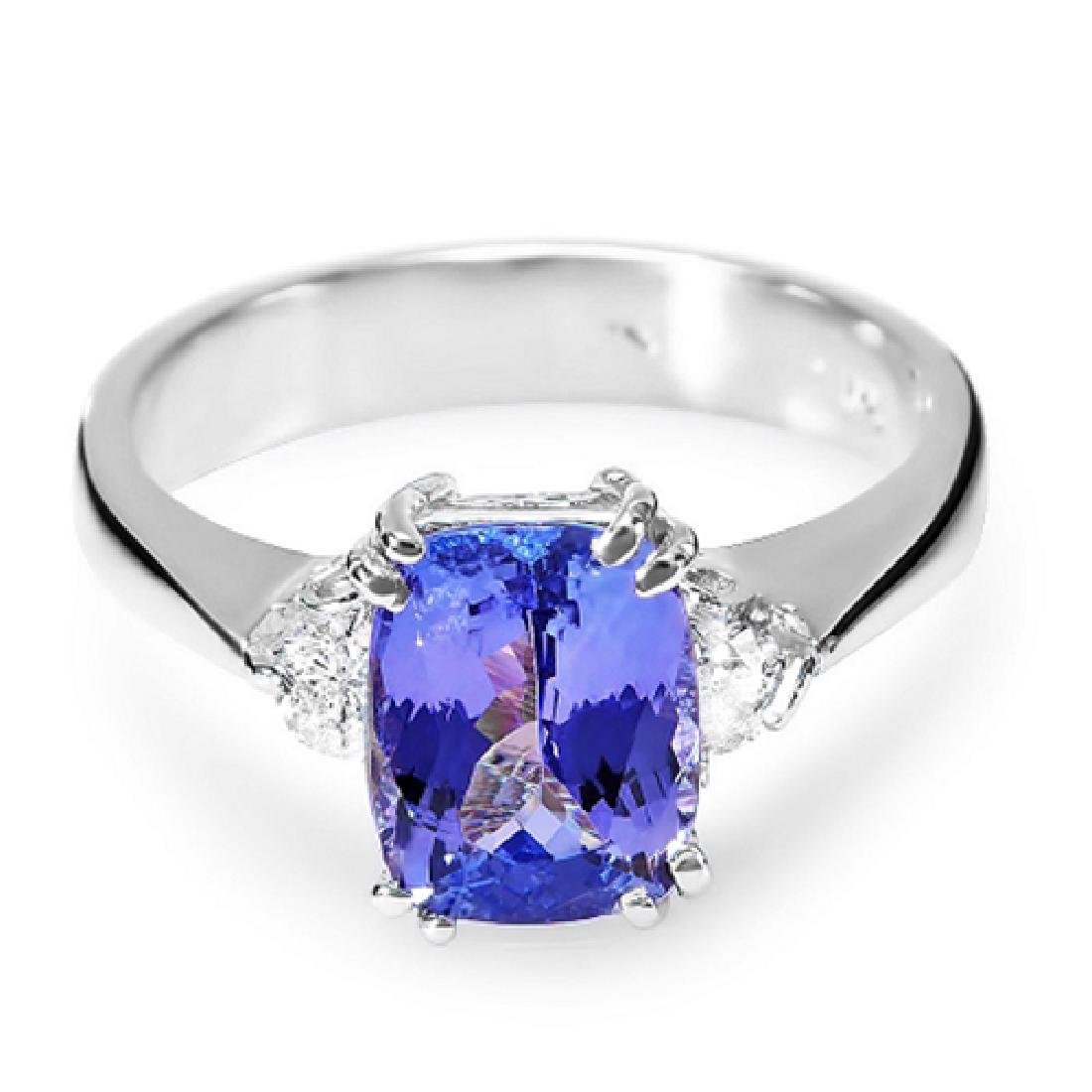 2.41 Carat Natural Tanzanite 18K Solid White Gold
