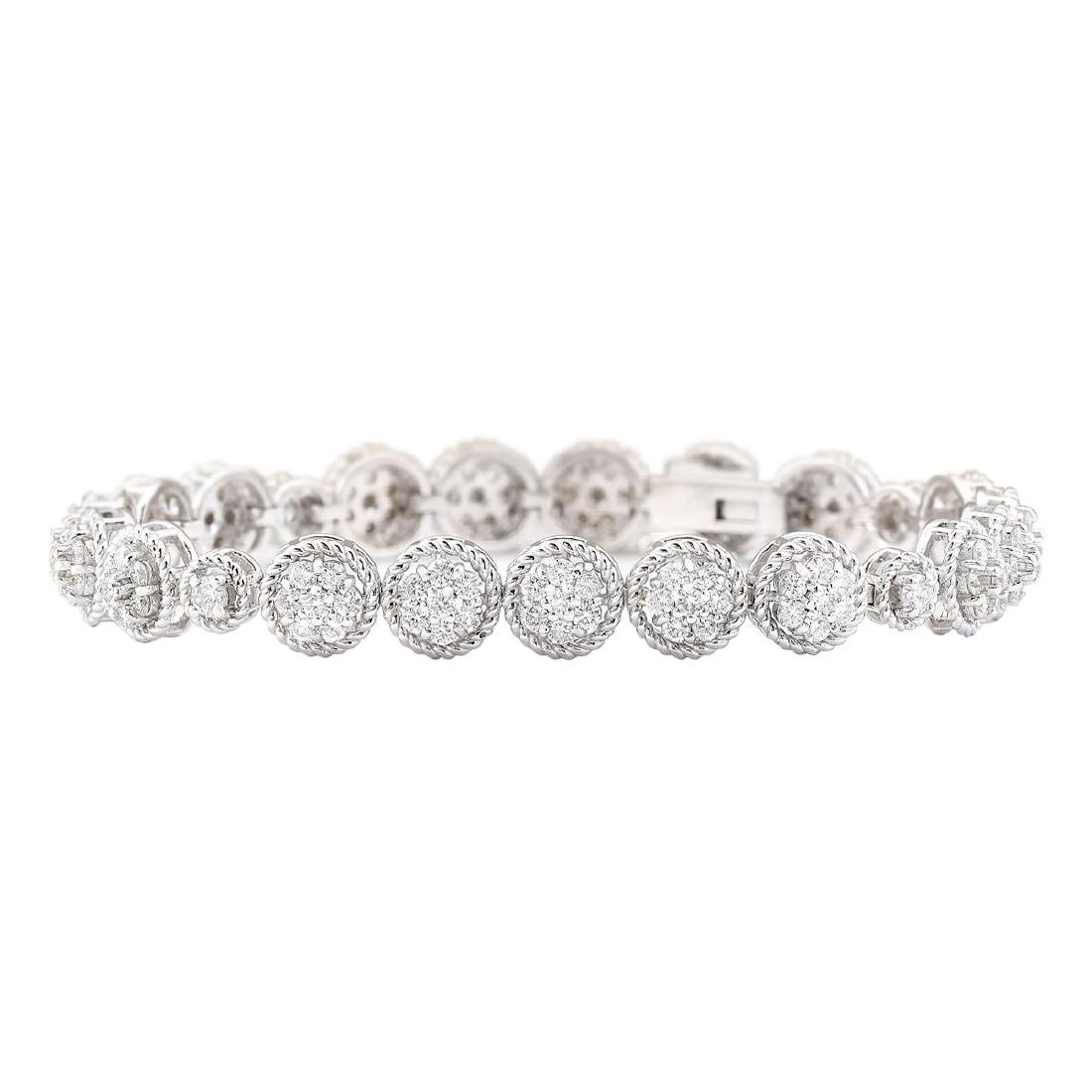3.75 CTW Natural Diamond Bracelet In 18K White Gold