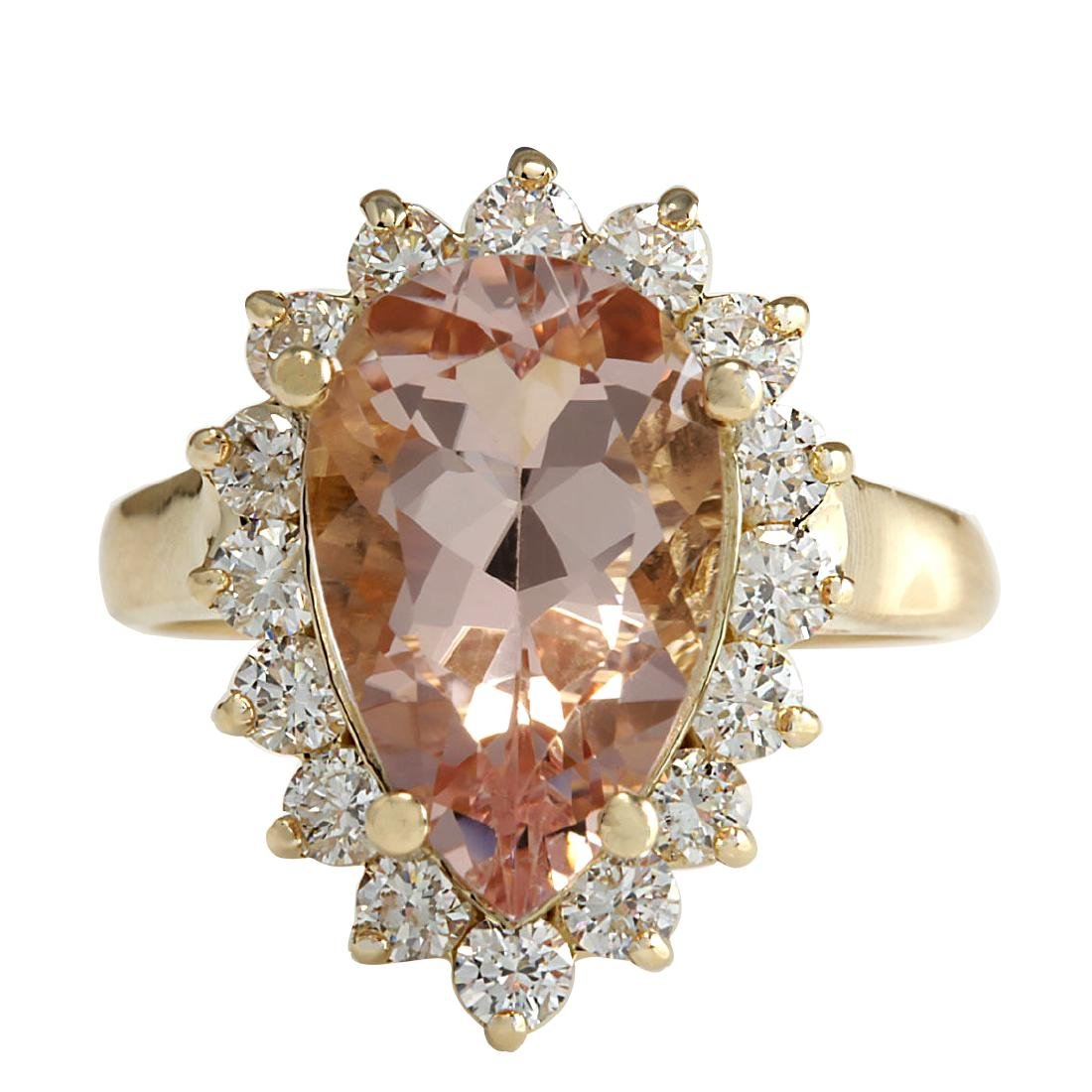 5.00CTW Natural Peach Morganite And Diamond Ring In 18K