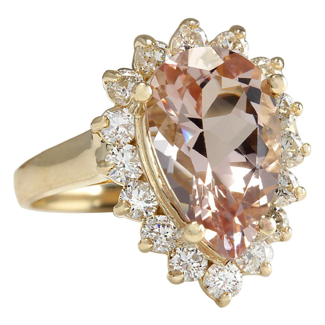 5.00CTW Natural Peach Morganite And Diamond Ring In 18K - 2