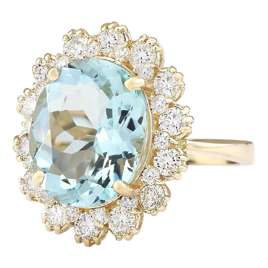 6.73 CTW Natural Blue Aquamarine And Diamond Ring In - 2