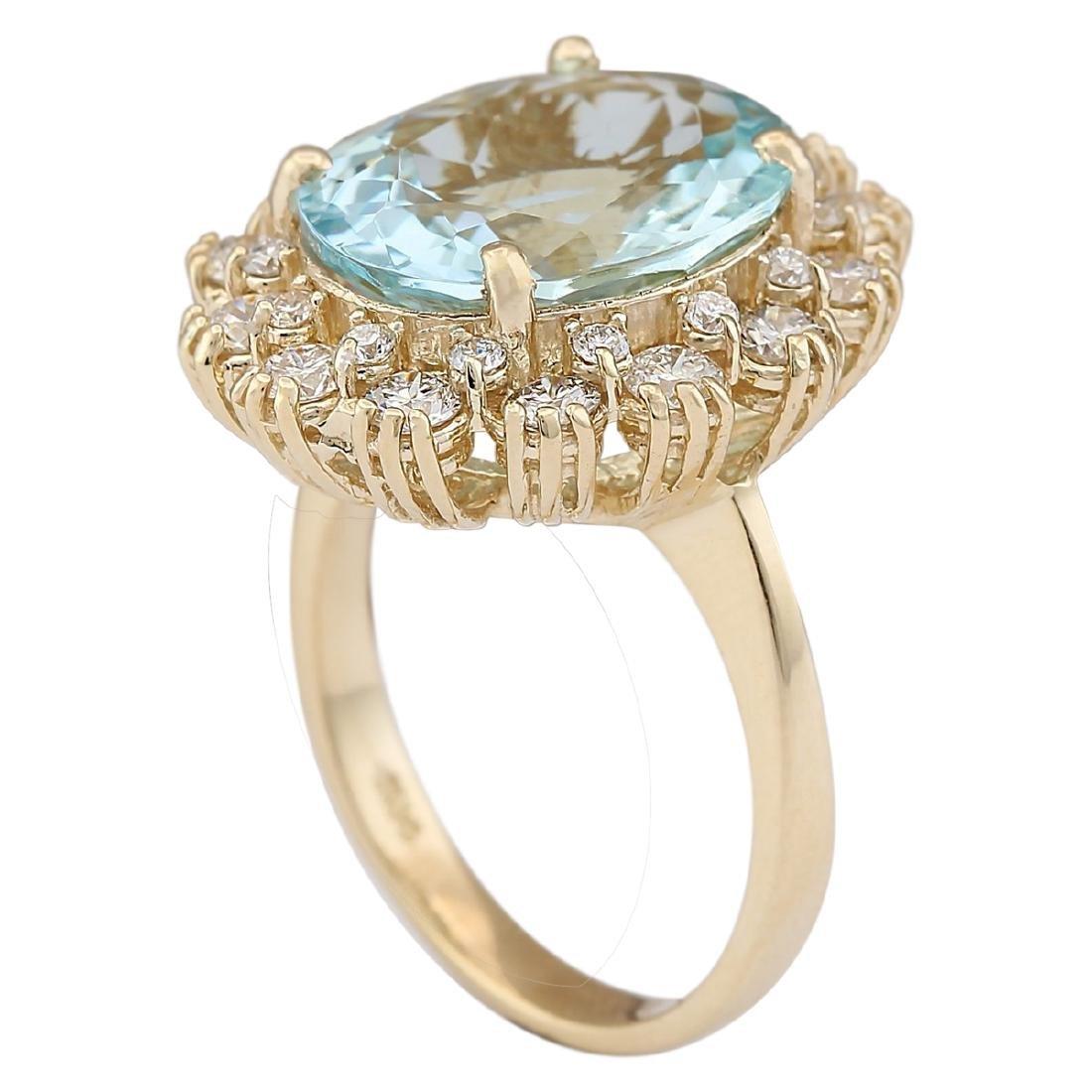 6.73 CTW Natural Blue Aquamarine And Diamond Ring In - 3