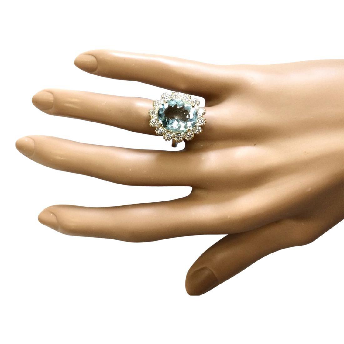 6.73 CTW Natural Blue Aquamarine And Diamond Ring In - 4