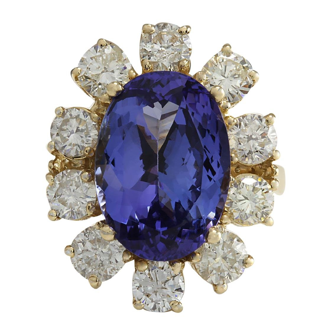 10.17CTW Natural Blue Tanzanite And Diamond Ring In 18K