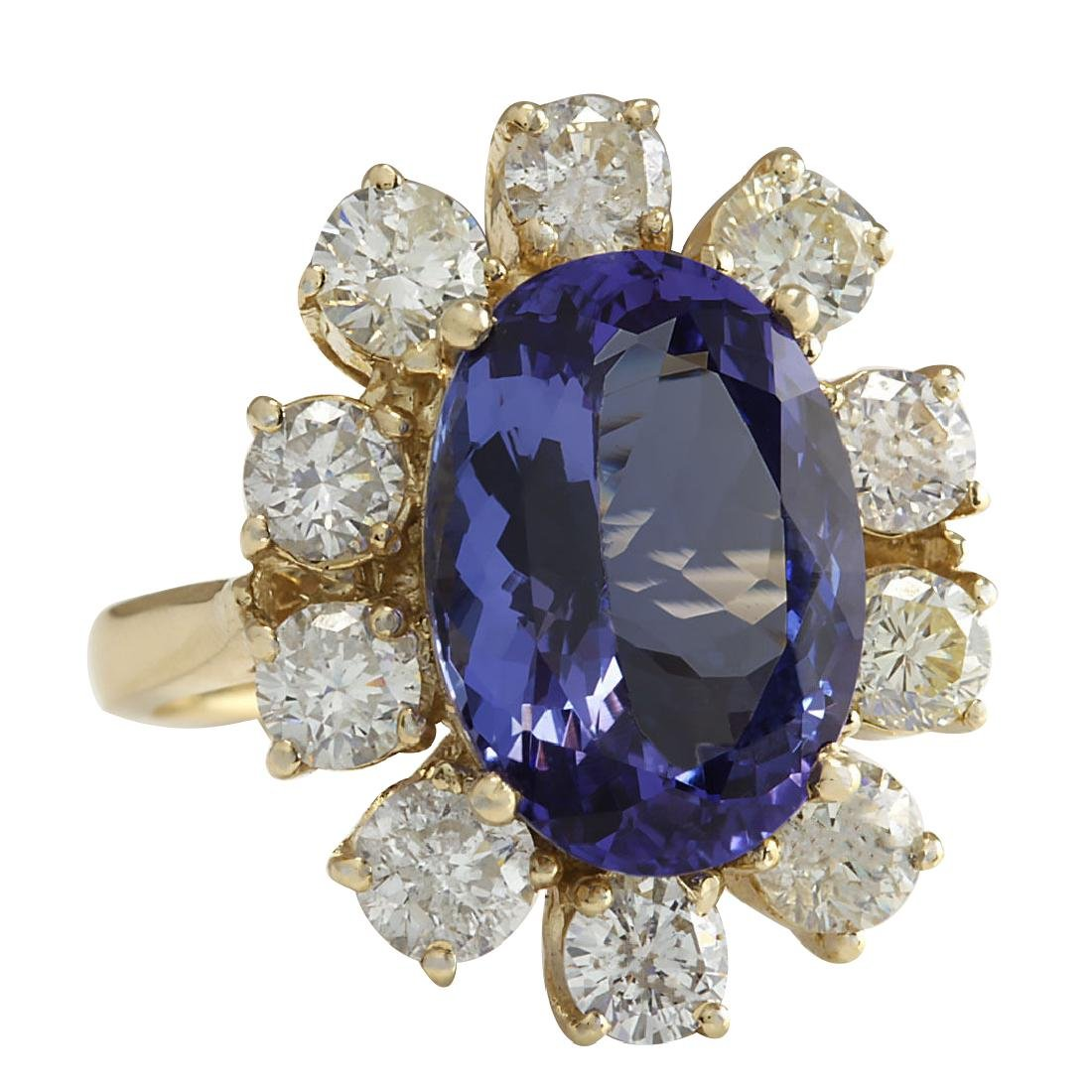 10.17CTW Natural Blue Tanzanite And Diamond Ring In 18K - 2