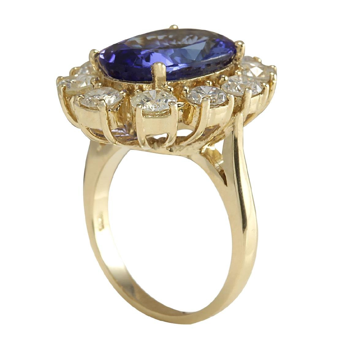 10.17CTW Natural Blue Tanzanite And Diamond Ring In 18K - 3
