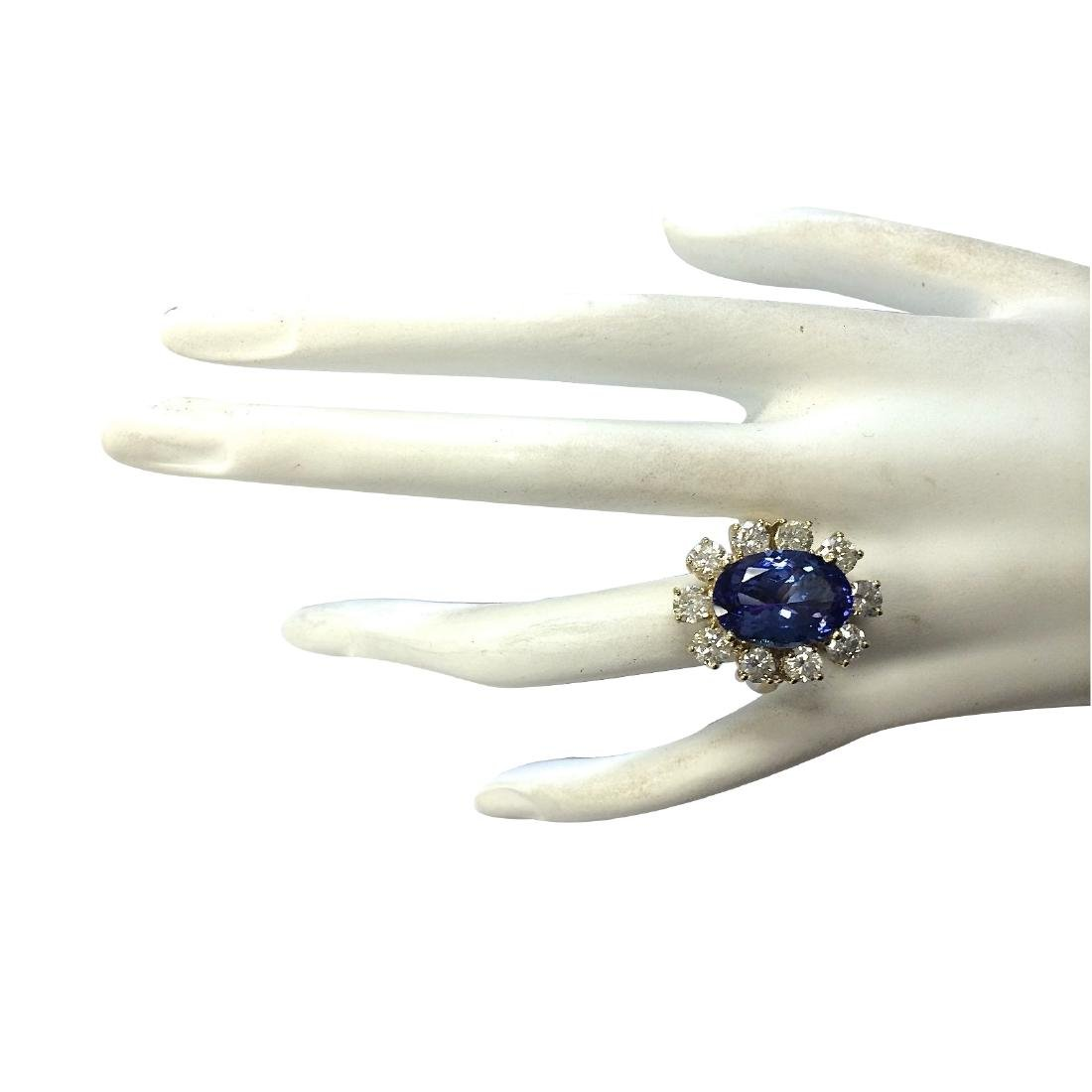 10.17CTW Natural Blue Tanzanite And Diamond Ring In 18K - 4