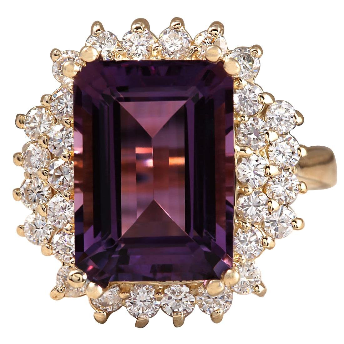 7.53CTW Natural Amethyst And Diamond Ring In 18K Solid