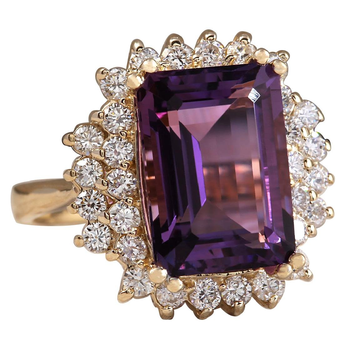7.53CTW Natural Amethyst And Diamond Ring In 18K Solid - 2