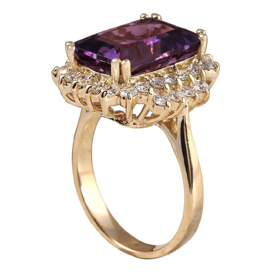 7.53CTW Natural Amethyst And Diamond Ring In 18K Solid - 3