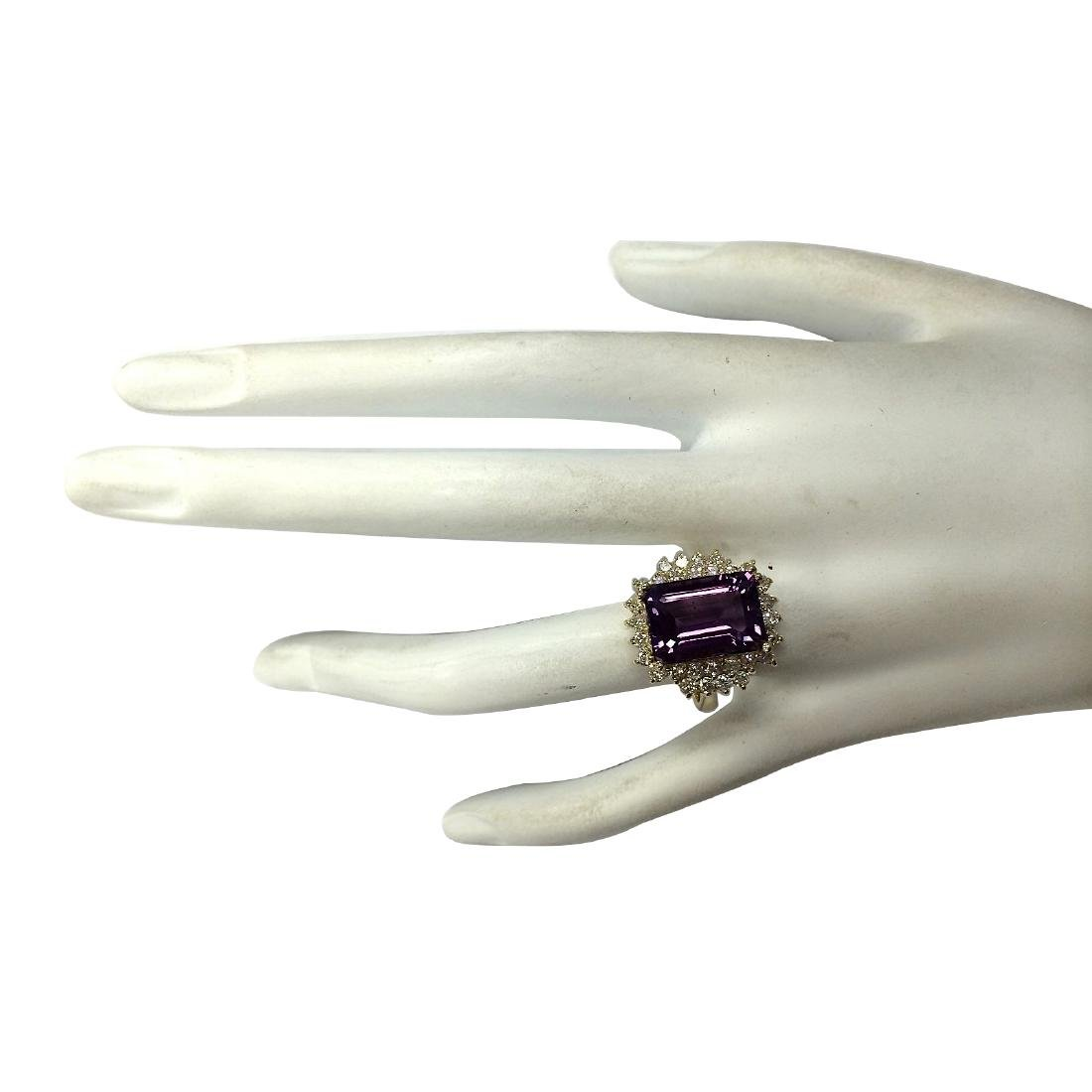 7.53CTW Natural Amethyst And Diamond Ring In 18K Solid - 4