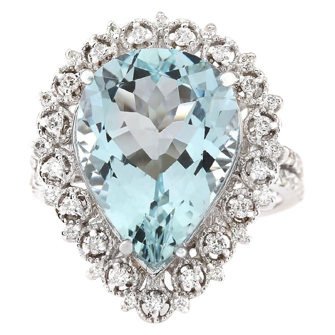 7.96 CTW Natural Aquamarine And Diamond Ring In 18K
