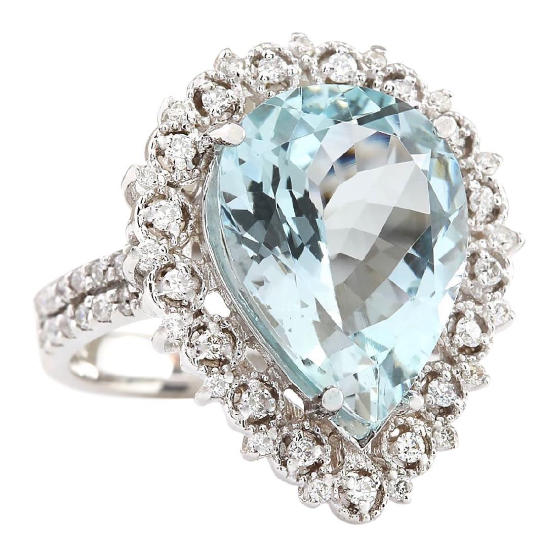 7.96 CTW Natural Aquamarine And Diamond Ring In 18K - 2
