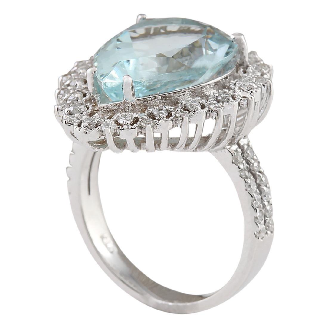 7.96 CTW Natural Aquamarine And Diamond Ring In 18K - 3