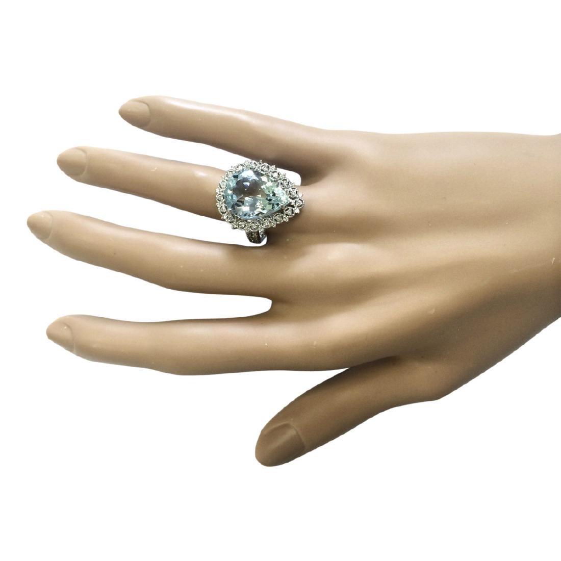 7.96 CTW Natural Aquamarine And Diamond Ring In 18K - 4