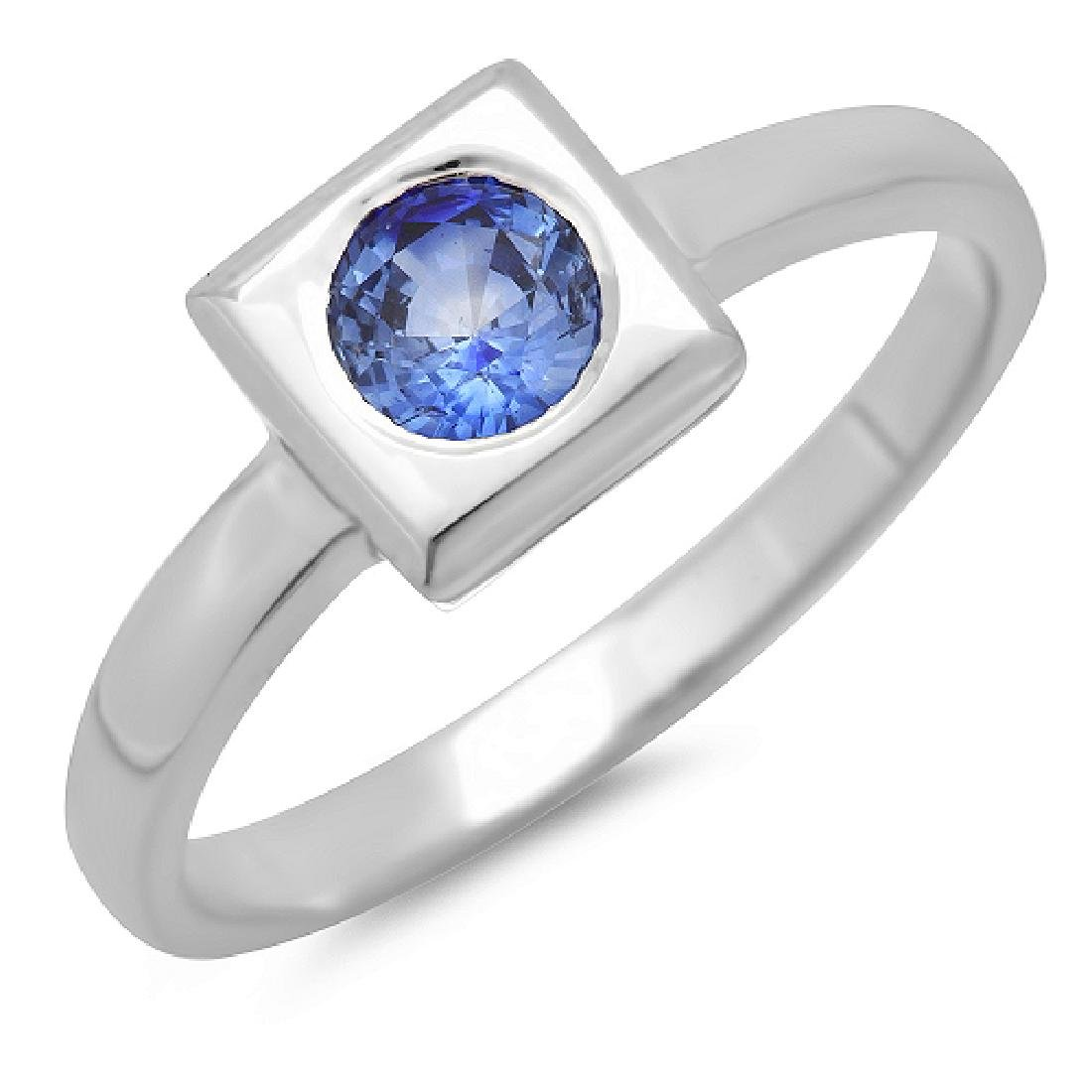 0.50 Carat Natural Sapphire 18K Solid White Gold Ring