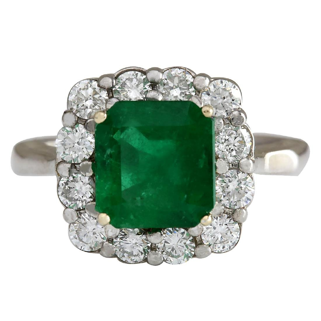 3.15CTW Natural Colombian Emerald And Diamond Ring In