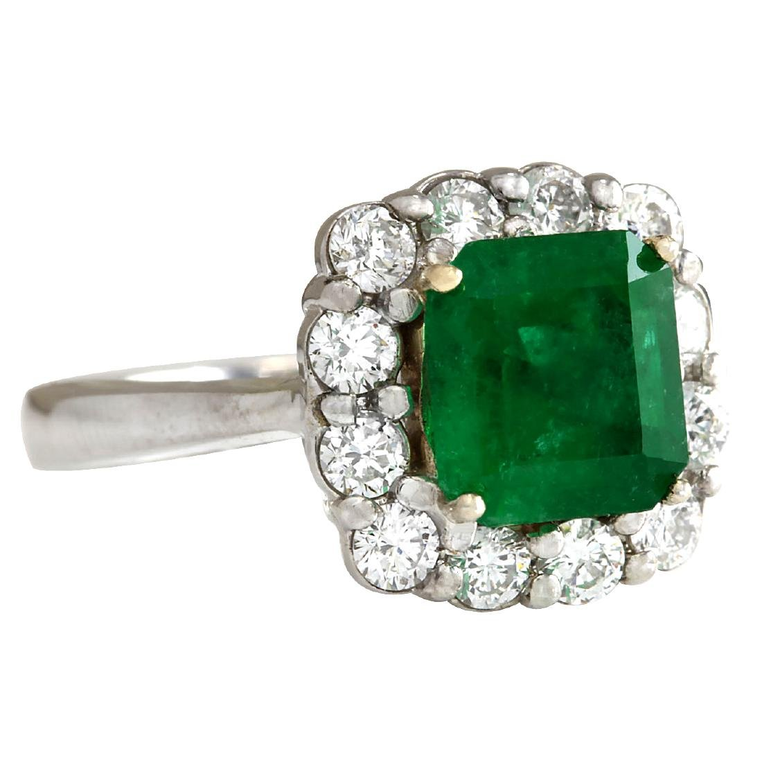 3.15CTW Natural Colombian Emerald And Diamond Ring In - 2